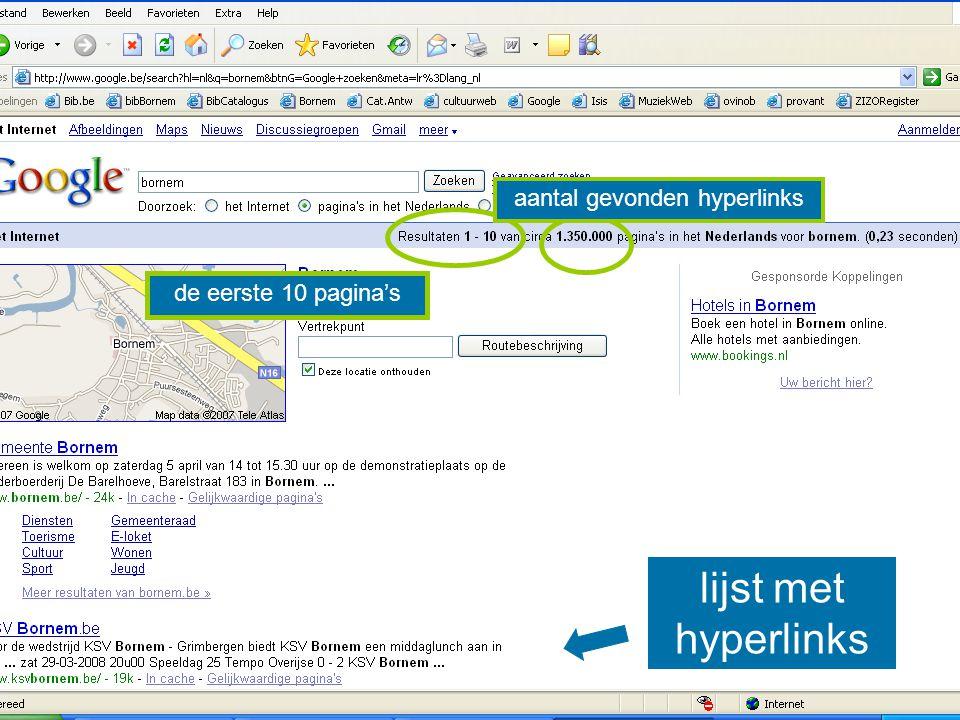 lijst met hyperlinks de eerste 10 pagina's aantal gevonden hyperlinks