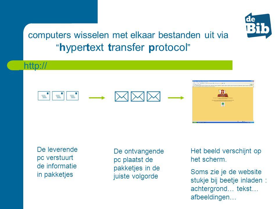 """computers wisselen met elkaar bestanden uit via """" hypertext transfer protocol """" http://  De leverende pc verstuurt de informatie in pakketjes  D"""