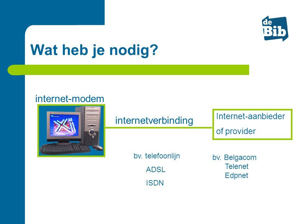 internet-modem bv. Belgacom Telenet Edpnet internetverbinding Internet-aanbieder of provider bv. telefoonlijn ADSL ISDN Wat heb je nodig?