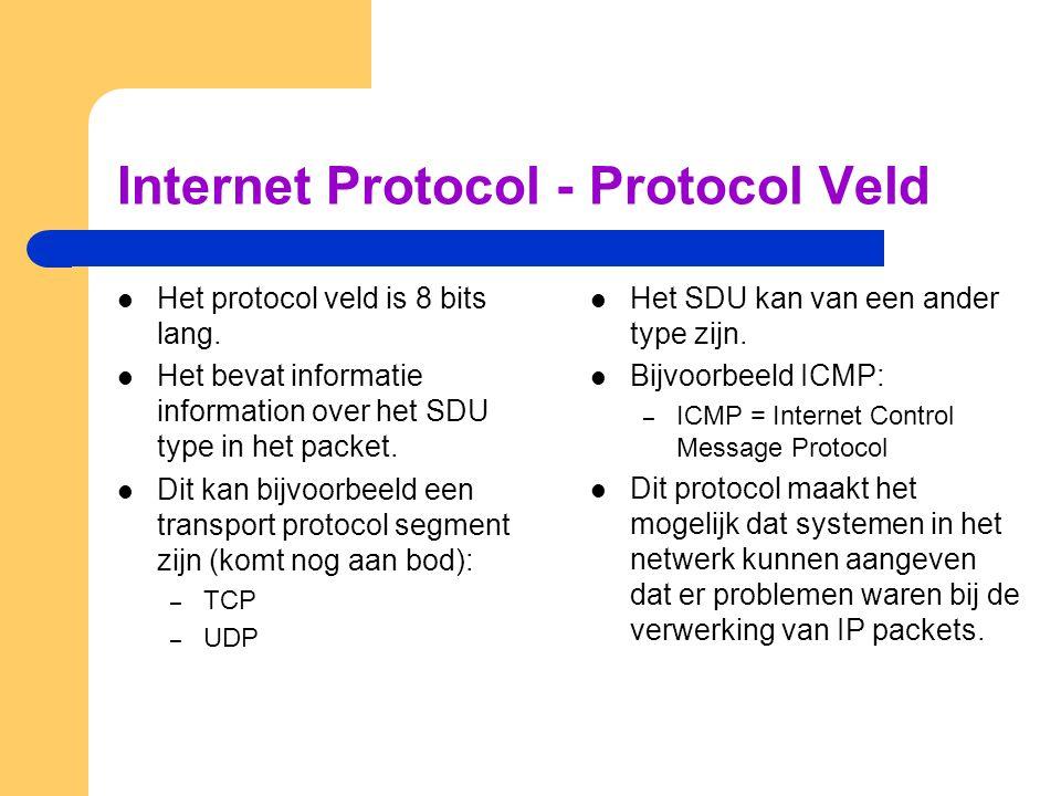Internet Protocol - Protocol Veld  Het protocol veld is 8 bits lang.