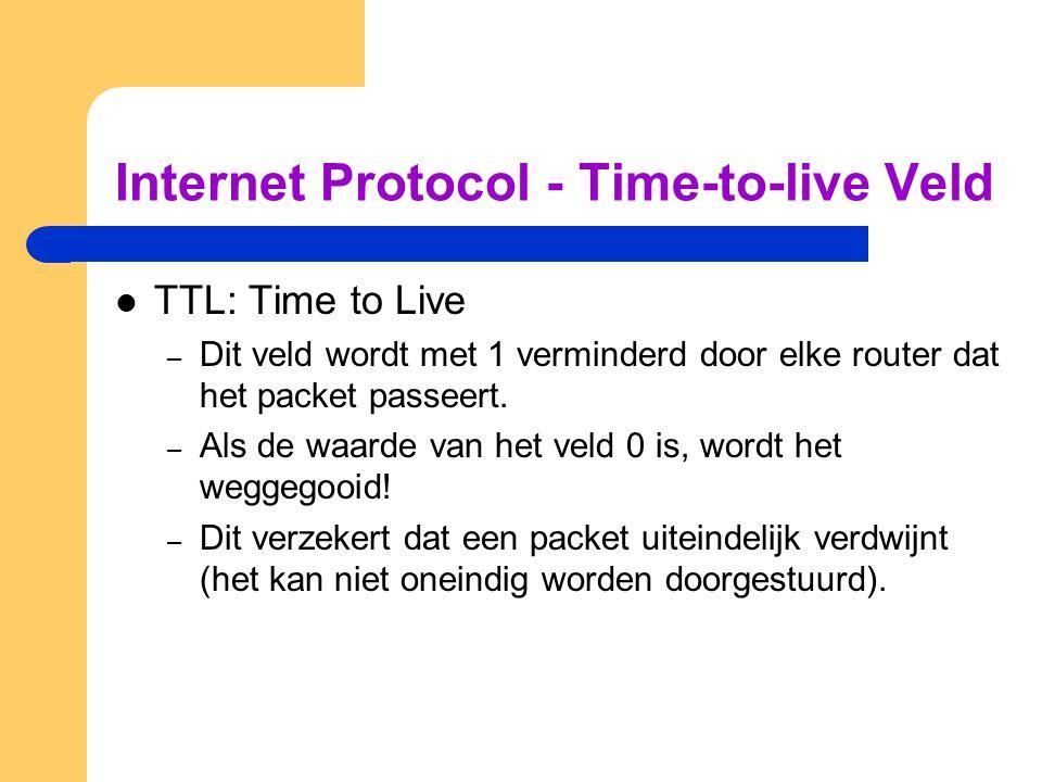 Internet Protocol - Time-to-live Veld  TTL: Time to Live – Dit veld wordt met 1 verminderd door elke router dat het packet passeert.