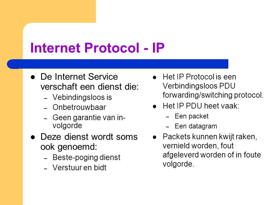 Internet Protocol - IP  De Internet Service verschaft een dienst die: – Vebindingsloos is – Onbetrouwbaar – Geen garantie van in- volgorde  Deze dienst wordt soms ook genoemd: – Beste-poging dienst – Verstuur en bidt  Het IP Protocol is een Verbindingsloos PDU forwarding/switching protocol.