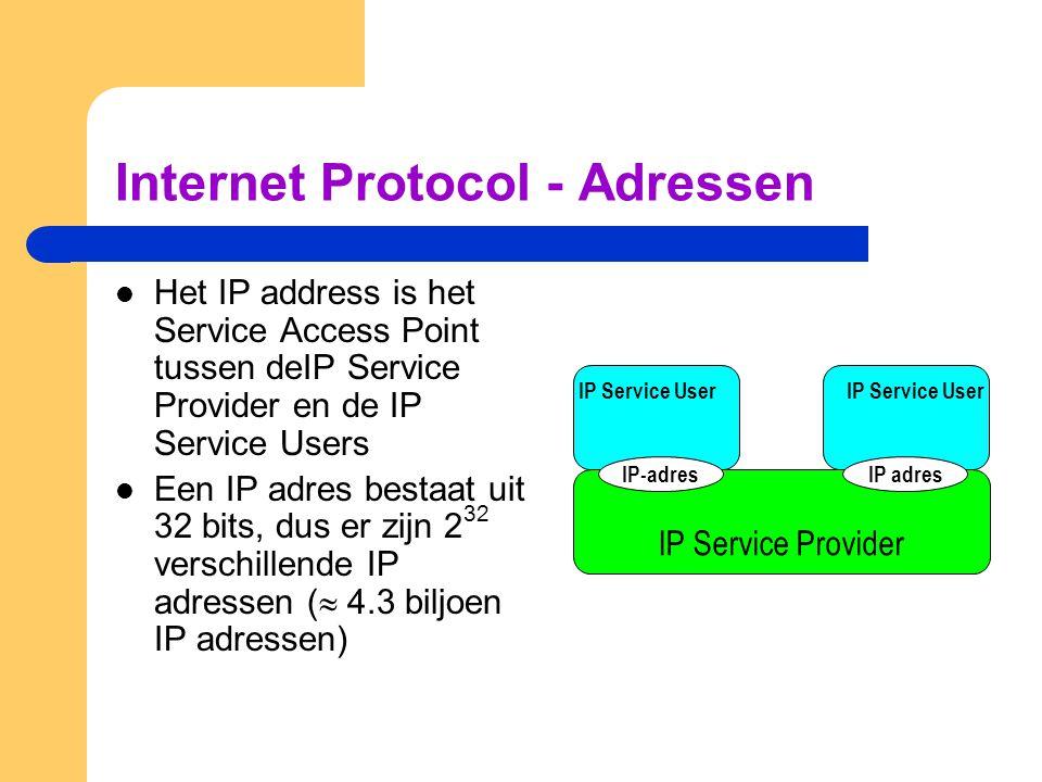 Internet Protocol - Adressen  Het IP address is het Service Access Point tussen deIP Service Provider en de IP Service Users  Een IP adres bestaat uit 32 bits, dus er zijn 2 32 verschillende IP adressen (  4.3 biljoen IP adressen) IP Service Provider IP Service User IP-adresIP adres