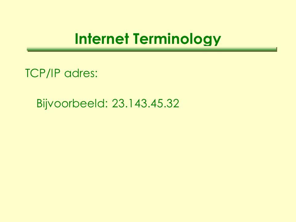 Internet Terminology TCP/IP adres: Bijvoorbeeld: 23.143.45.32