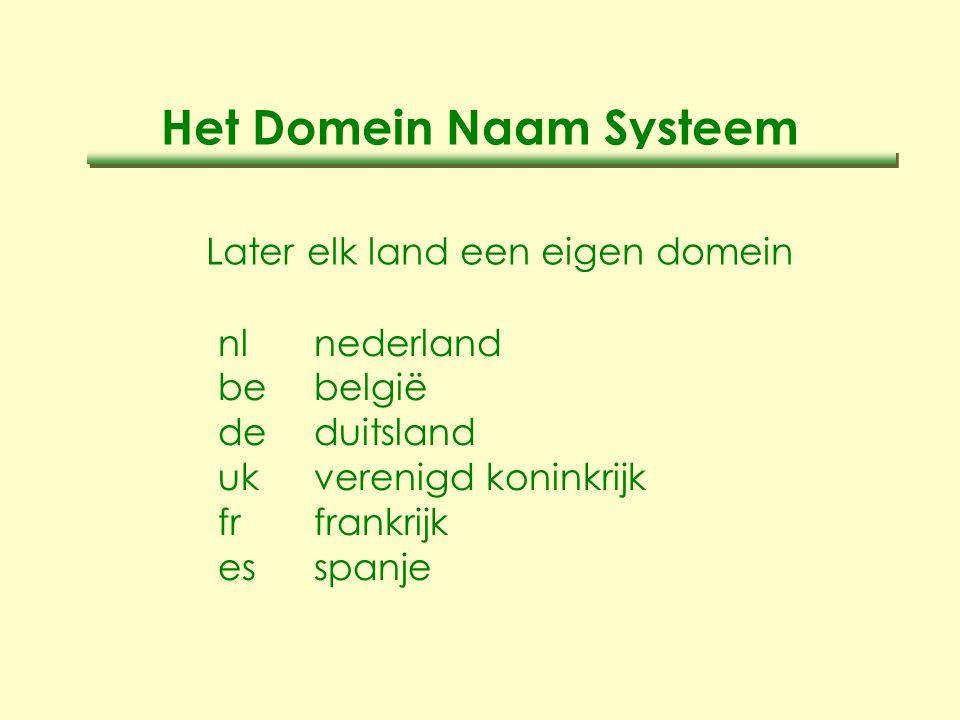 Het Domein Naam Systeem Later elk land een eigen domein nlnederland bebelgië deduitsland ukverenigd koninkrijk frfrankrijk esspanje