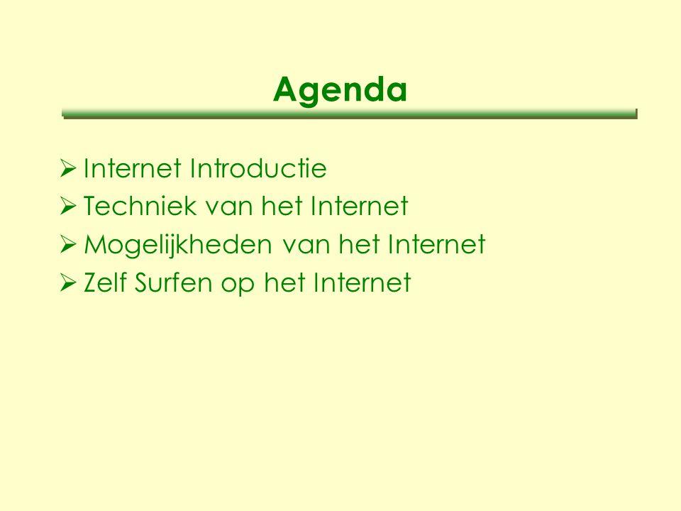 Agenda  Internet Introductie  Techniek van het Internet  Mogelijkheden van het Internet  Zelf Surfen op het Internet