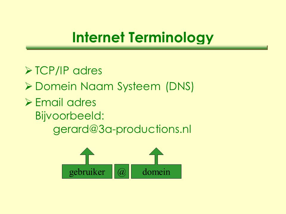 Internet Terminology  TCP/IP adres  Domein Naam Systeem (DNS)  Email adres Bijvoorbeeld: gerard@3a-productions.nl gebruikerdomein @
