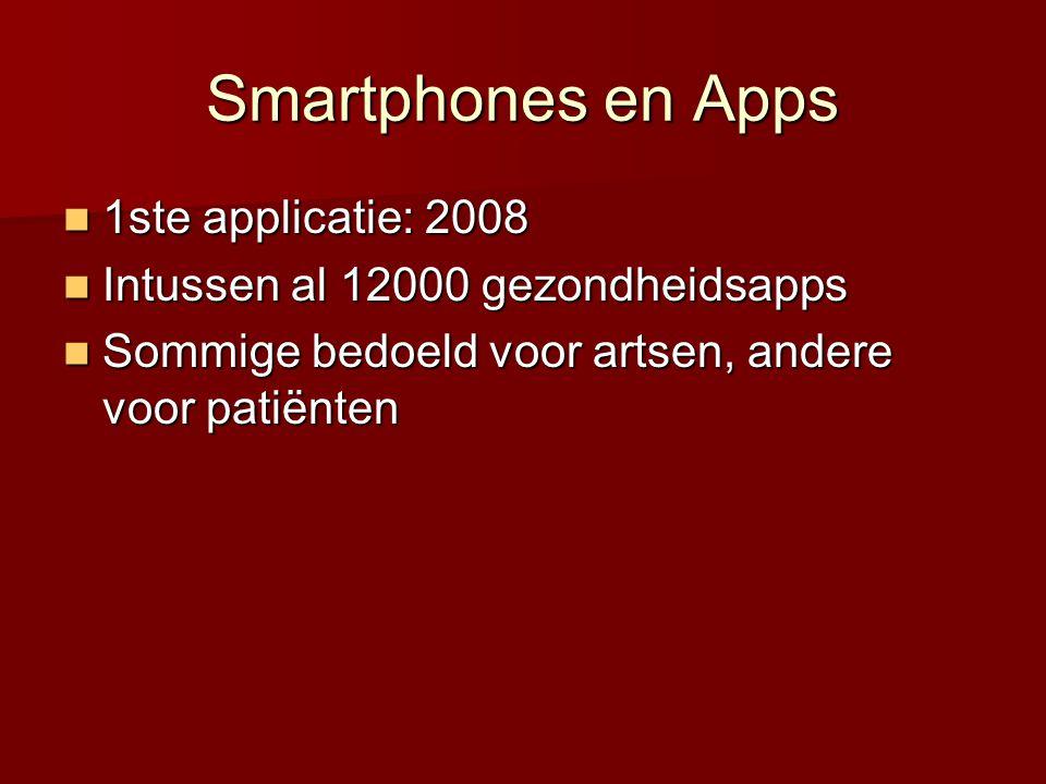 Smartphones en Apps  1ste applicatie: 2008  Intussen al 12000 gezondheidsapps  Sommige bedoeld voor artsen, andere voor patiënten
