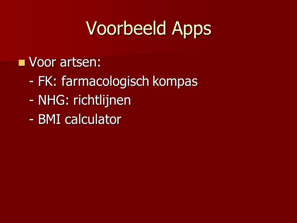 Voorbeeld Apps  Voor artsen: - FK: farmacologisch kompas - NHG: richtlijnen - BMI calculator