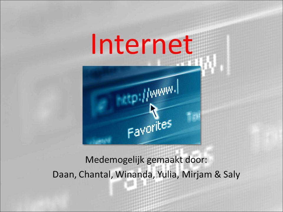Internet Medemogelijk gemaakt door: Daan, Chantal, Winanda, Yulia, Mirjam & Saly