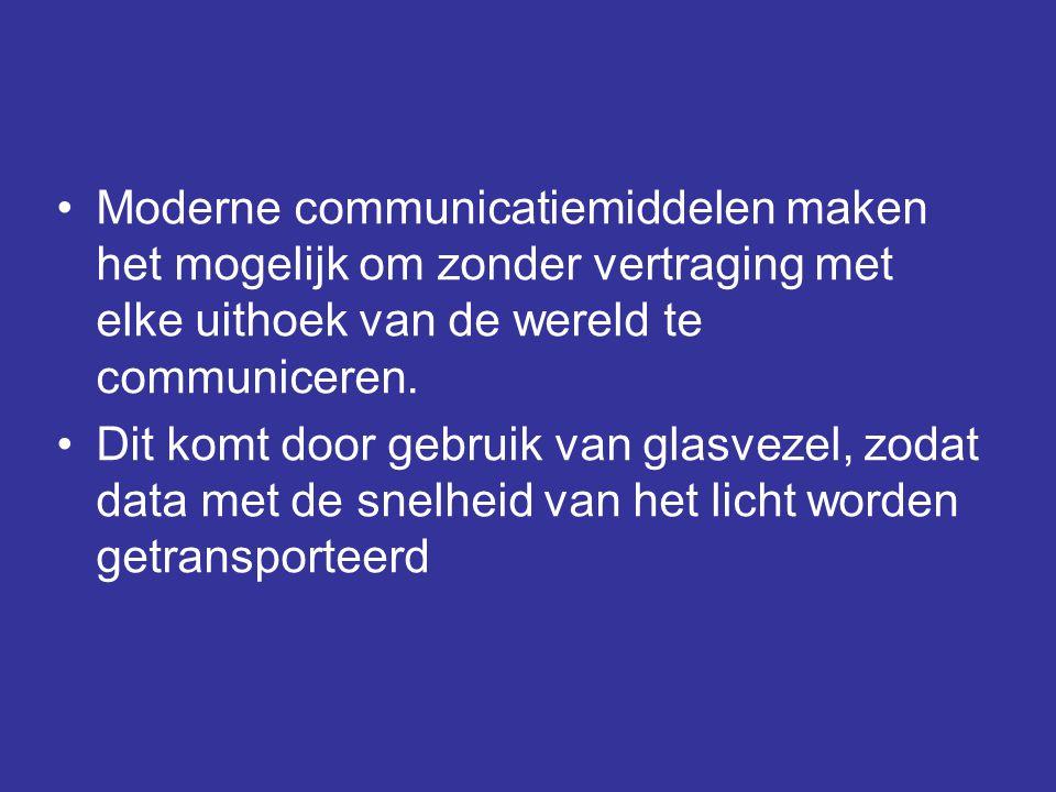 •Moderne communicatiemiddelen maken het mogelijk om zonder vertraging met elke uithoek van de wereld te communiceren. •Dit komt door gebruik van glasv