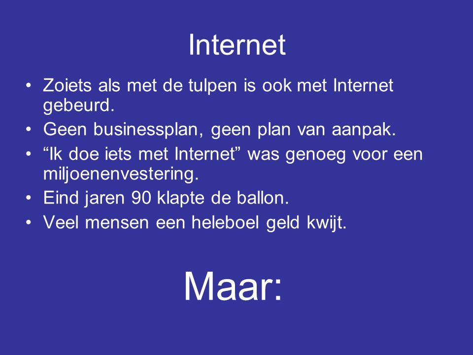 """•Zoiets als met de tulpen is ook met Internet gebeurd. •Geen businessplan, geen plan van aanpak. •""""Ik doe iets met Internet"""" was genoeg voor een miljo"""