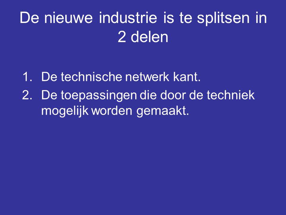 De nieuwe industrie is te splitsen in 2 delen 1.De technische netwerk kant. 2.De toepassingen die door de techniek mogelijk worden gemaakt.