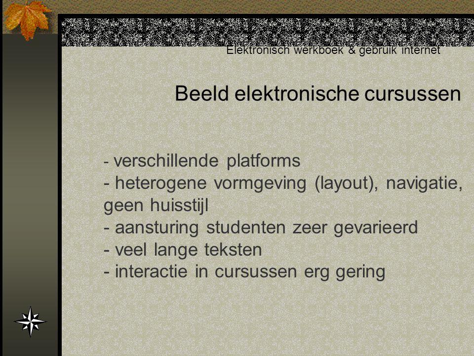 Beeld elektronische cursussen Elektronisch werkboek & gebruik internet - verschillende platforms - heterogene vormgeving (layout), navigatie, geen huisstijl - aansturing studenten zeer gevarieerd - veel lange teksten - interactie in cursussen erg gering