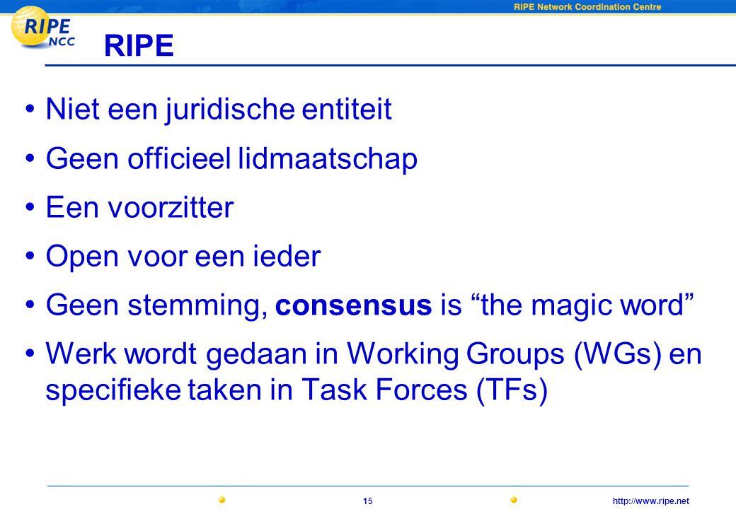 http://www.ripe.net15 RIPE • Niet een juridische entiteit • Geen officieel lidmaatschap • Een voorzitter • Open voor een ieder • Geen stemming, consensus is the magic word • Werk wordt gedaan in Working Groups (WGs) en specifieke taken in Task Forces (TFs)