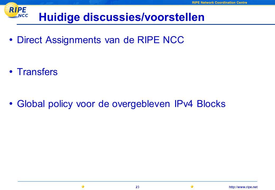 http://www.ripe.net23 Huidige discussies/voorstellen • Direct Assignments van de RIPE NCC • Transfers • Global policy voor de overgebleven IPv4 Blocks