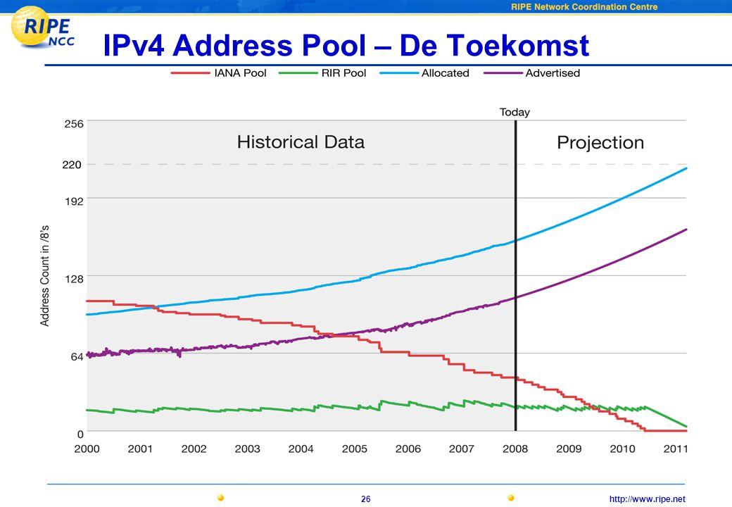 http://www.ripe.net26 IPv4 Address Pool – De Toekomst