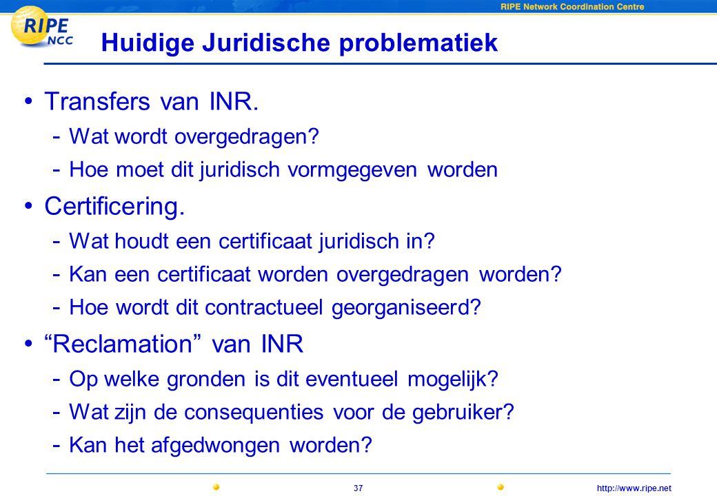 http://www.ripe.net37 Huidige Juridische problematiek • Transfers van INR.