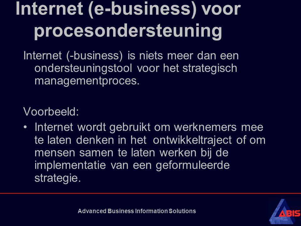 Advanced Business Information Solutions Internet (e-business) voor procesondersteuning Internet (-business) is niets meer dan een ondersteuningstool v