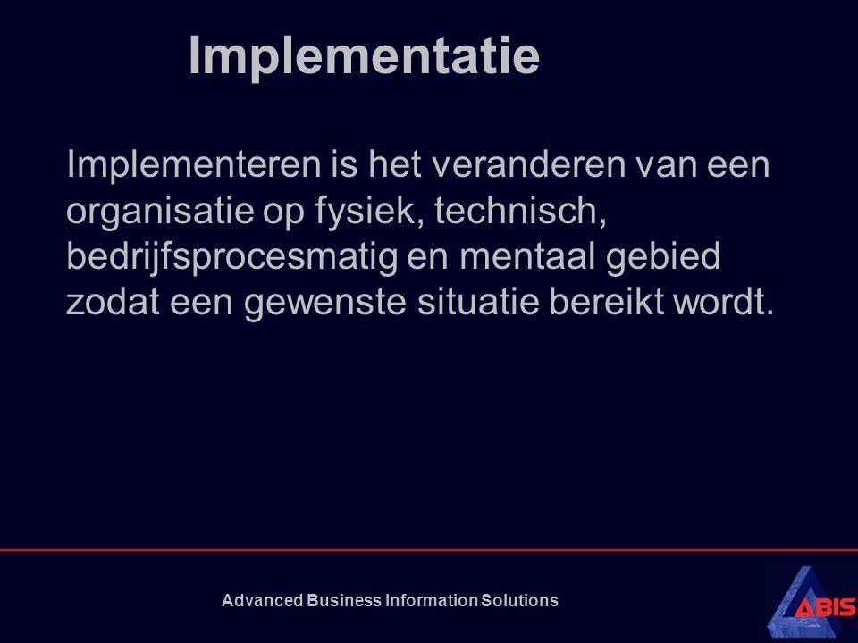 Advanced Business Information Solutions Implementatie Implementeren is het veranderen van een organisatie op fysiek, technisch, bedrijfsprocesmatig en