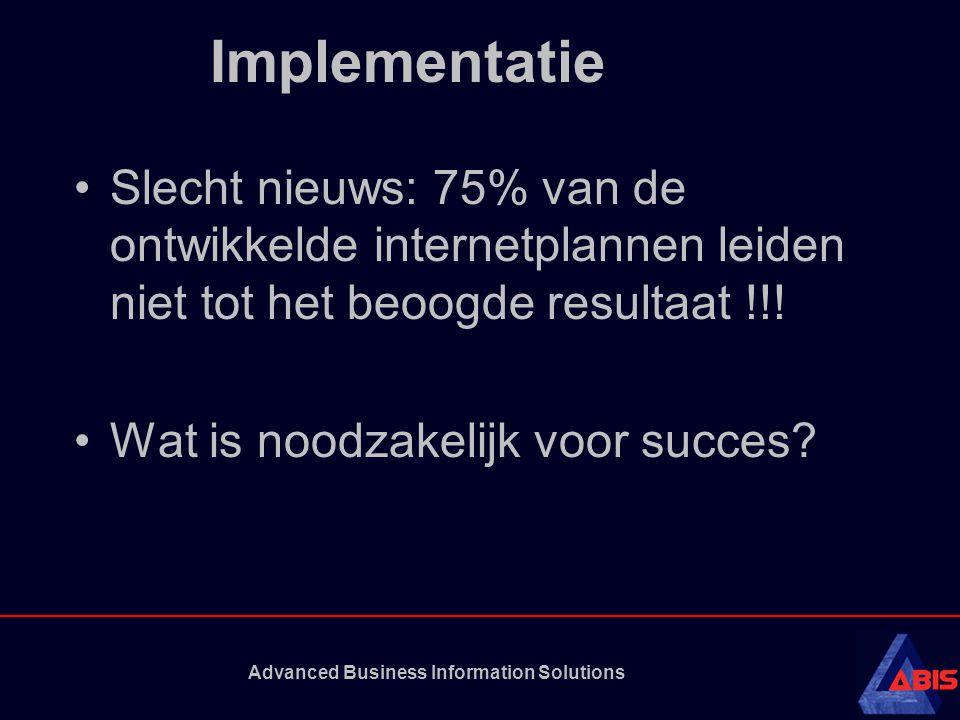 Advanced Business Information Solutions Implementatie •Slecht nieuws: 75% van de ontwikkelde internetplannen leiden niet tot het beoogde resultaat !!!