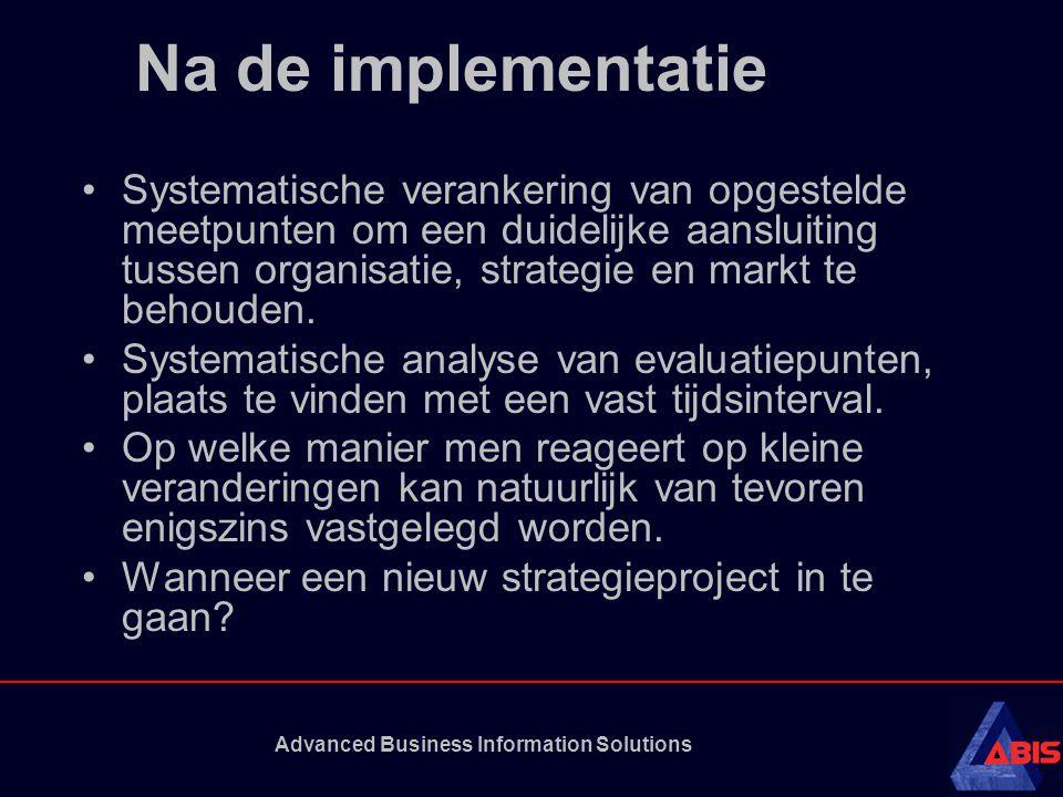 Advanced Business Information Solutions Na de implementatie •Systematische verankering van opgestelde meetpunten om een duidelijke aansluiting tussen