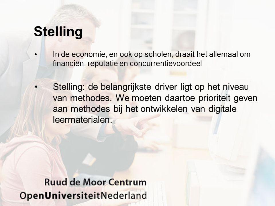 Stelling •Leraren en scholen zijn niet toegerust op het ontwikkelen van digitaal leermaterialen.