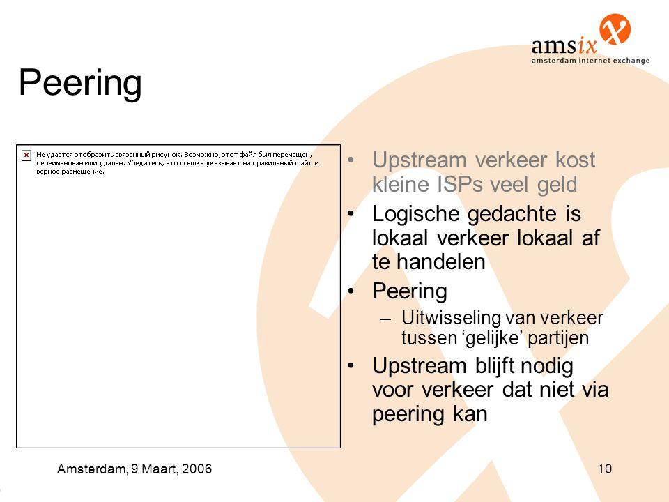 Amsterdam, 9 Maart, 200610 Peering •Upstream verkeer kost kleine ISPs veel geld •Logische gedachte is lokaal verkeer lokaal af te handelen •Peering –Uitwisseling van verkeer tussen 'gelijke' partijen •Upstream blijft nodig voor verkeer dat niet via peering kan