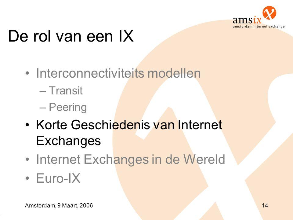 Amsterdam, 9 Maart, 200614 De rol van een IX •Interconnectiviteits modellen –Transit –Peering •Korte Geschiedenis van Internet Exchanges •Internet Exchanges in de Wereld •Euro-IX