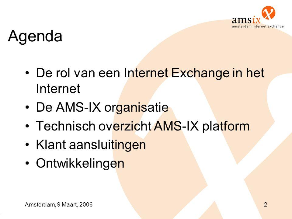 Amsterdam, 9 Maart, 20062 Agenda •De rol van een Internet Exchange in het Internet •De AMS-IX organisatie •Technisch overzicht AMS-IX platform •Klant aansluitingen •Ontwikkelingen