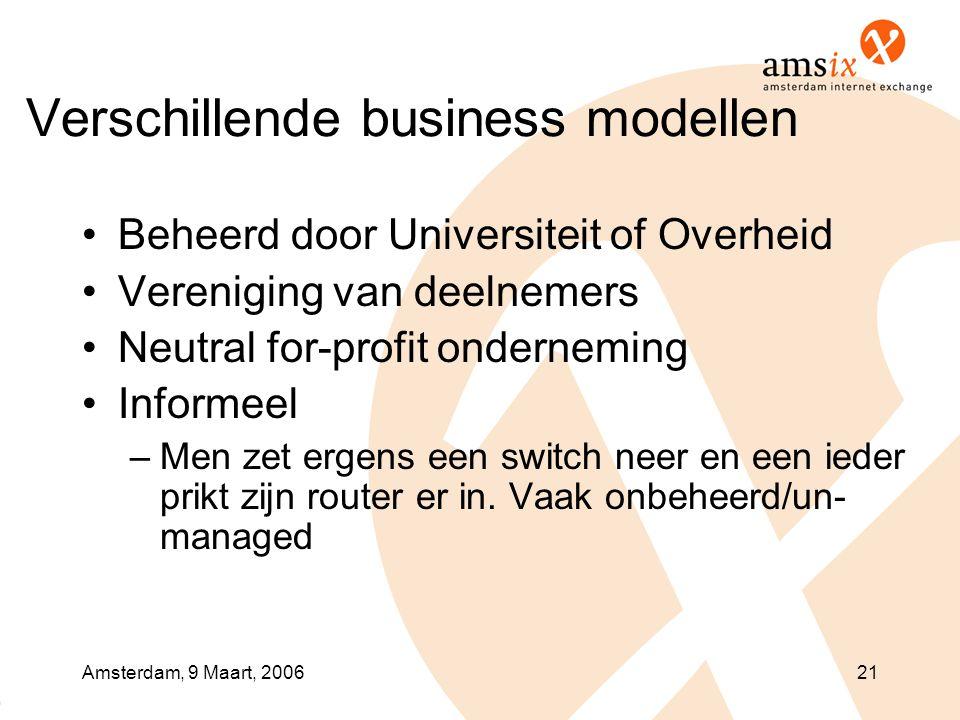 Amsterdam, 9 Maart, 200621 Verschillende business modellen •Beheerd door Universiteit of Overheid •Vereniging van deelnemers •Neutral for-profit onderneming •Informeel –Men zet ergens een switch neer en een ieder prikt zijn router er in.