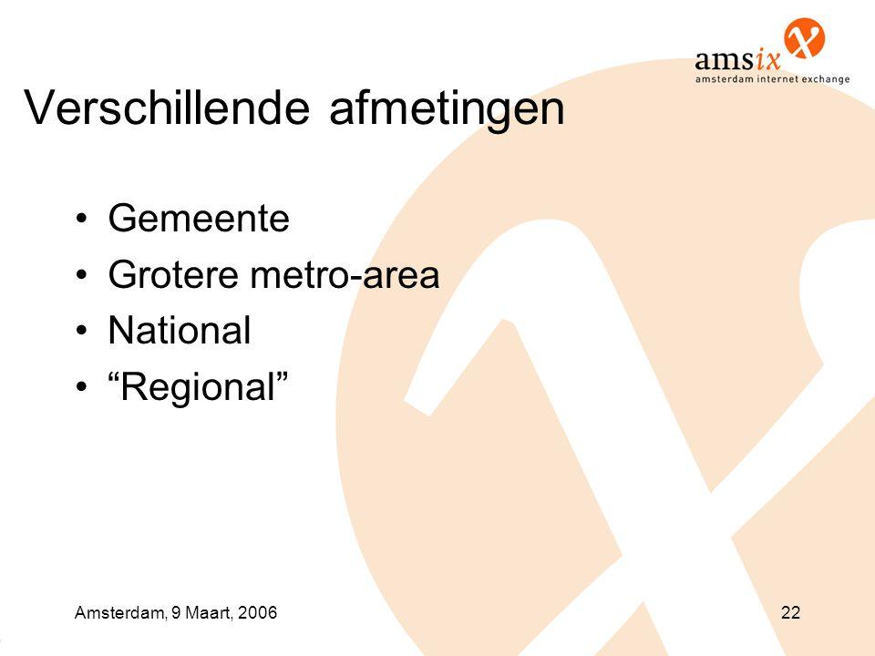 """Amsterdam, 9 Maart, 200622 Verschillende afmetingen •Gemeente •Grotere metro-area •National •""""Regional"""""""