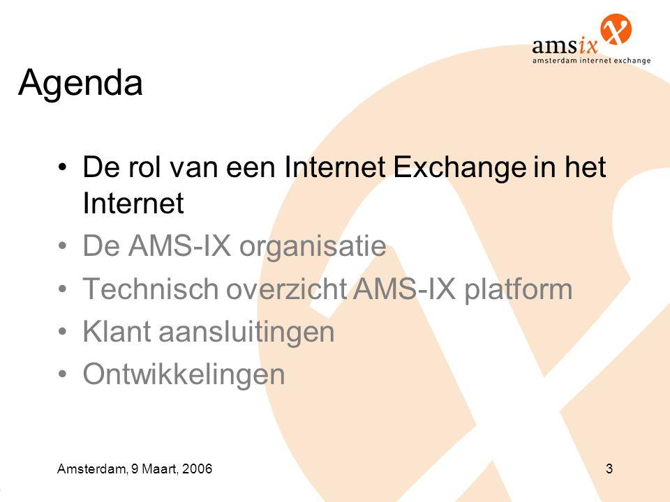 Amsterdam, 9 Maart, 20063 Agenda •De rol van een Internet Exchange in het Internet •De AMS-IX organisatie •Technisch overzicht AMS-IX platform •Klant aansluitingen •Ontwikkelingen