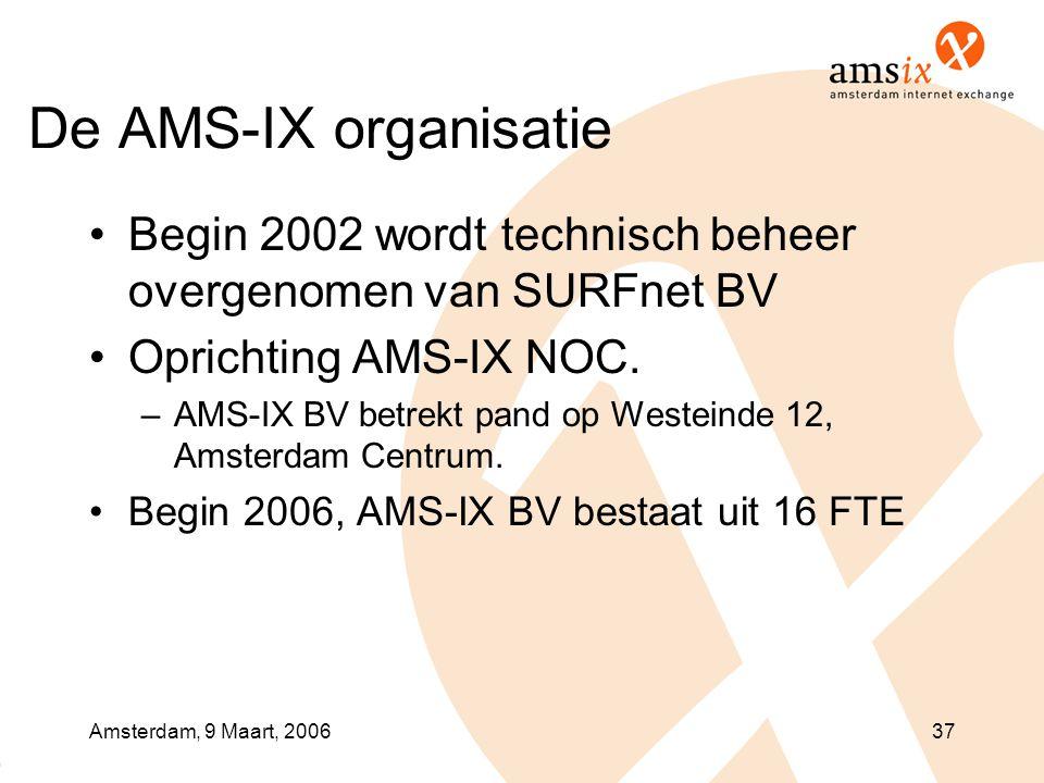 Amsterdam, 9 Maart, 200637 De AMS-IX organisatie •Begin 2002 wordt technisch beheer overgenomen van SURFnet BV •Oprichting AMS-IX NOC. –AMS-IX BV betr