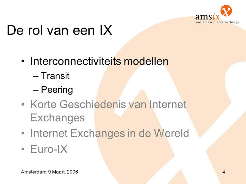 Amsterdam, 9 Maart, 20064 De rol van een IX •Interconnectiviteits modellen –Transit –Peering •Korte Geschiedenis van Internet Exchanges •Internet Exchanges in de Wereld •Euro-IX