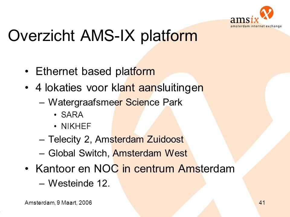 Amsterdam, 9 Maart, 200641 Overzicht AMS-IX platform •Ethernet based platform •4 lokaties voor klant aansluitingen –Watergraafsmeer Science Park •SARA •NIKHEF –Telecity 2, Amsterdam Zuidoost –Global Switch, Amsterdam West •Kantoor en NOC in centrum Amsterdam –Westeinde 12.