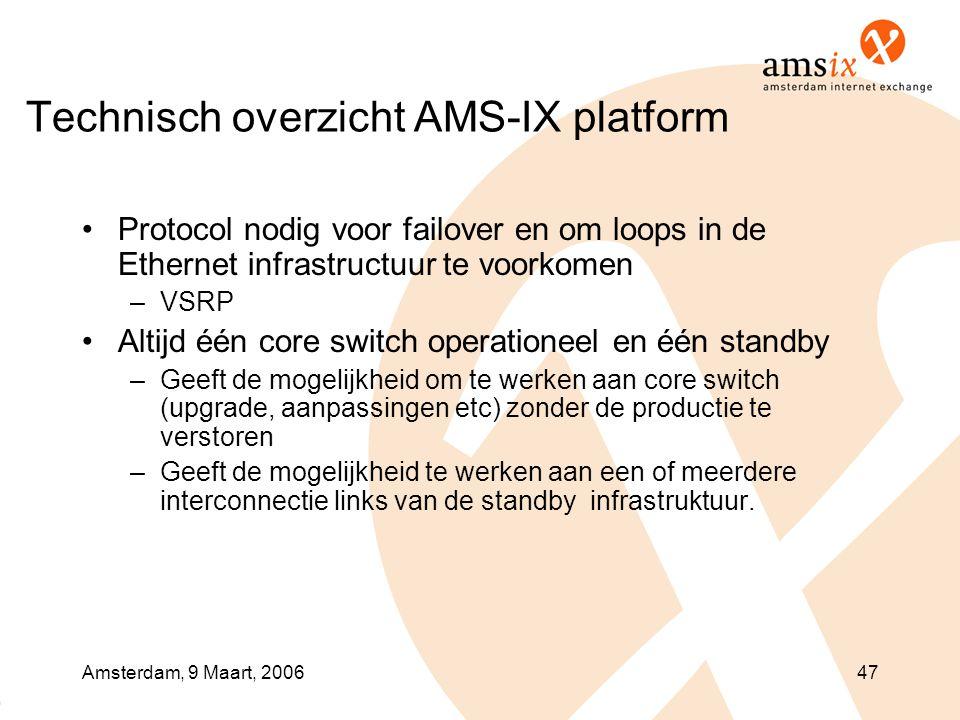 Amsterdam, 9 Maart, 200647 Technisch overzicht AMS-IX platform •Protocol nodig voor failover en om loops in de Ethernet infrastructuur te voorkomen –V