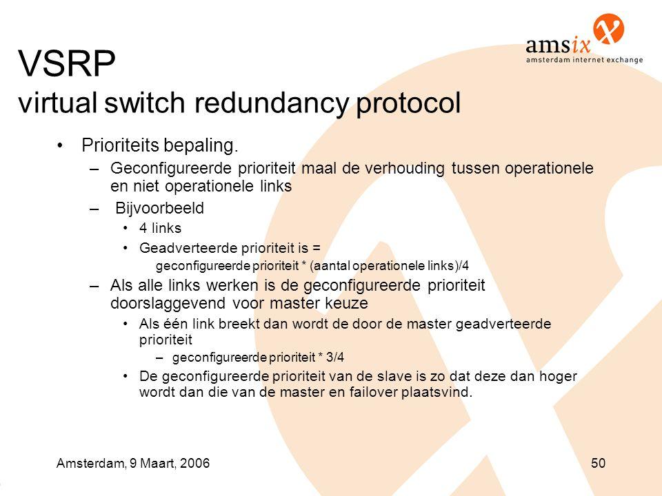 Amsterdam, 9 Maart, 200650 VSRP virtual switch redundancy protocol •Prioriteits bepaling. –Geconfigureerde prioriteit maal de verhouding tussen operat