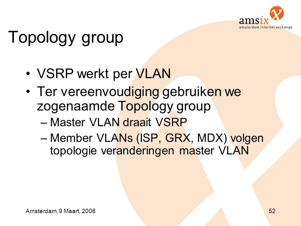 Amsterdam, 9 Maart, 200652 Topology group •VSRP werkt per VLAN •Ter vereenvoudiging gebruiken we zogenaamde Topology group –Master VLAN draait VSRP –Member VLANs (ISP, GRX, MDX) volgen topologie veranderingen master VLAN