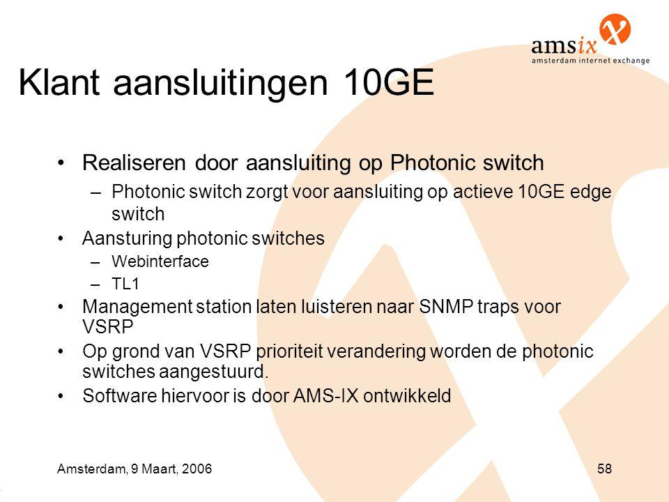 Amsterdam, 9 Maart, 200658 Klant aansluitingen 10GE •Realiseren door aansluiting op Photonic switch –Photonic switch zorgt voor aansluiting op actieve