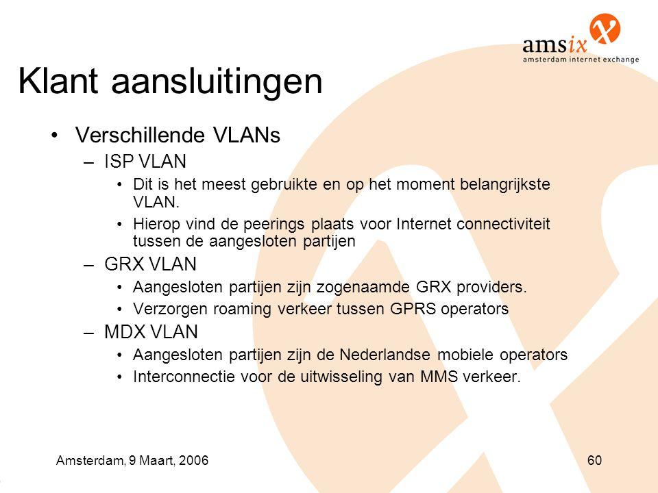 Amsterdam, 9 Maart, 200660 Klant aansluitingen •Verschillende VLANs –ISP VLAN •Dit is het meest gebruikte en op het moment belangrijkste VLAN.