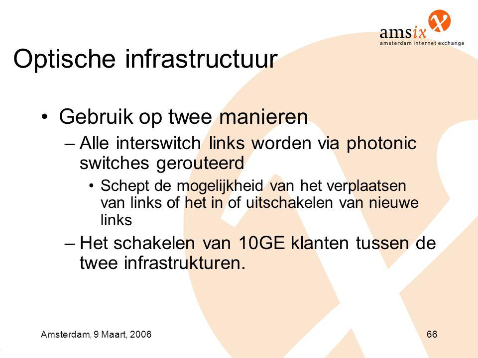 Amsterdam, 9 Maart, 200666 Optische infrastructuur •Gebruik op twee manieren –Alle interswitch links worden via photonic switches gerouteerd •Schept de mogelijkheid van het verplaatsen van links of het in of uitschakelen van nieuwe links –Het schakelen van 10GE klanten tussen de twee infrastrukturen.