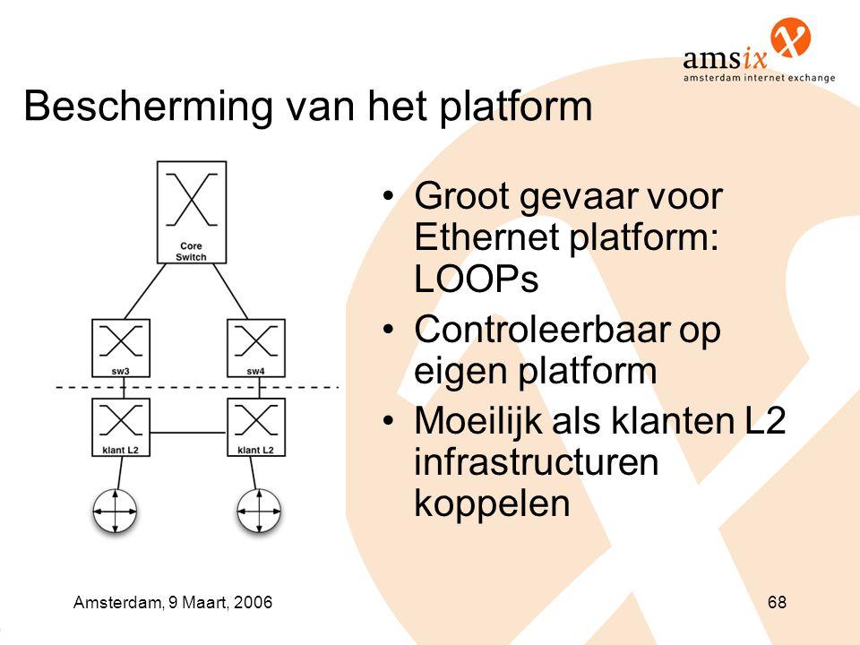 Amsterdam, 9 Maart, 200668 Bescherming van het platform •Groot gevaar voor Ethernet platform: LOOPs •Controleerbaar op eigen platform •Moeilijk als klanten L2 infrastructuren koppelen