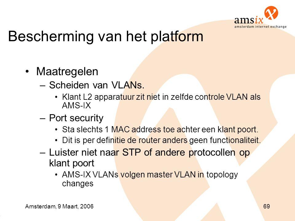 Amsterdam, 9 Maart, 200669 Bescherming van het platform •Maatregelen –Scheiden van VLANs. •Klant L2 apparatuur zit niet in zelfde controle VLAN als AM