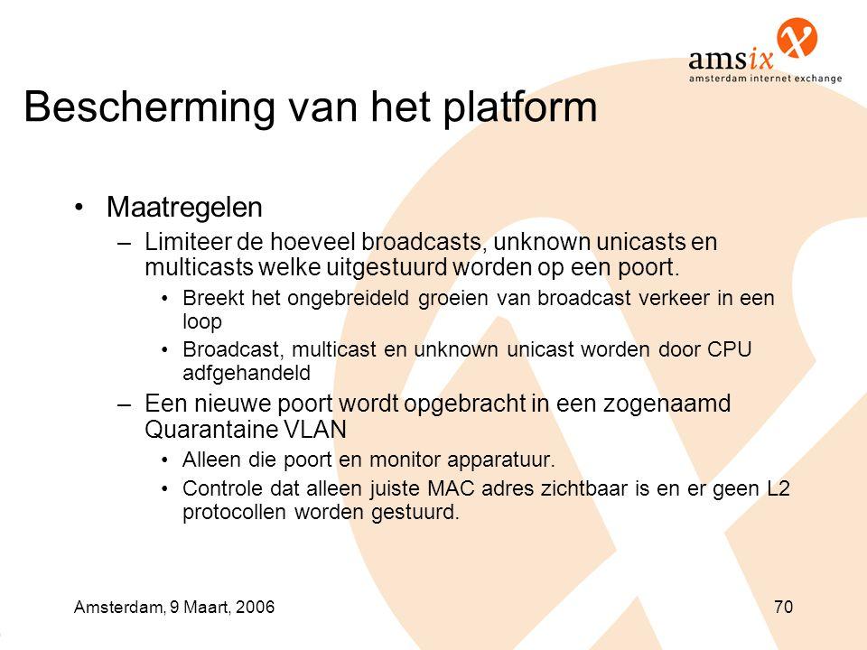 Amsterdam, 9 Maart, 200670 Bescherming van het platform •Maatregelen –Limiteer de hoeveel broadcasts, unknown unicasts en multicasts welke uitgestuurd