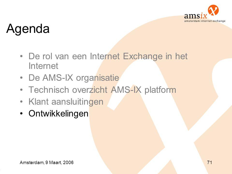 Amsterdam, 9 Maart, 200671 Agenda •De rol van een Internet Exchange in het Internet •De AMS-IX organisatie •Technisch overzicht AMS-IX platform •Klant