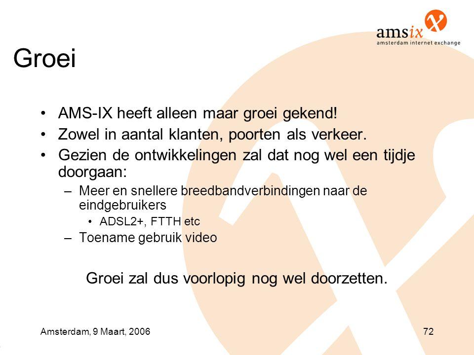 Amsterdam, 9 Maart, 200672 Groei •AMS-IX heeft alleen maar groei gekend! •Zowel in aantal klanten, poorten als verkeer. •Gezien de ontwikkelingen zal