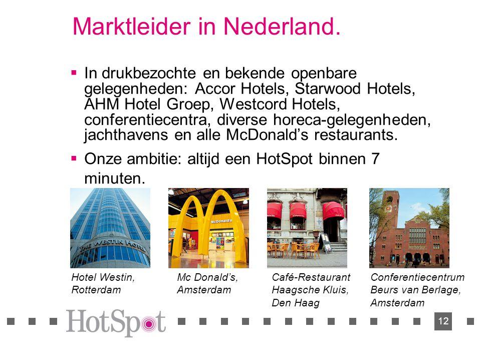 12 Marktleider in Nederland.  In drukbezochte en bekende openbare gelegenheden: Accor Hotels, Starwood Hotels, AHM Hotel Groep, Westcord Hotels, conf