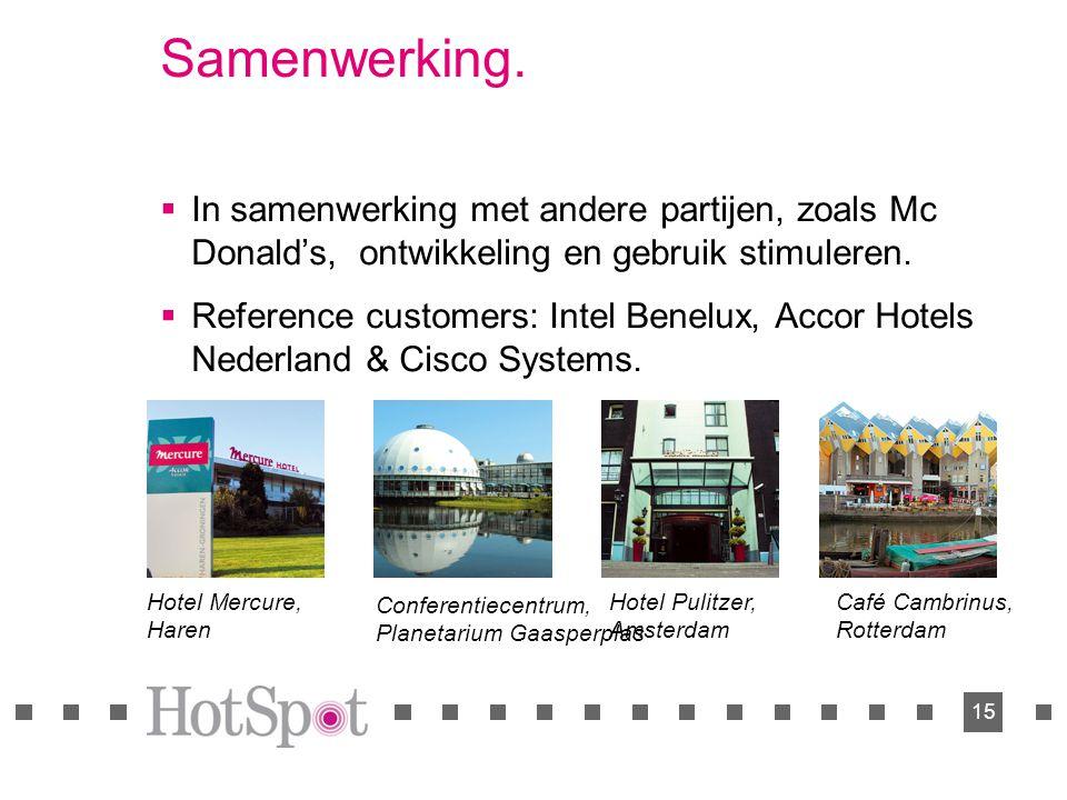 15 Samenwerking.  In samenwerking met andere partijen, zoals Mc Donald's, ontwikkeling en gebruik stimuleren.  Reference customers: Intel Benelux, A