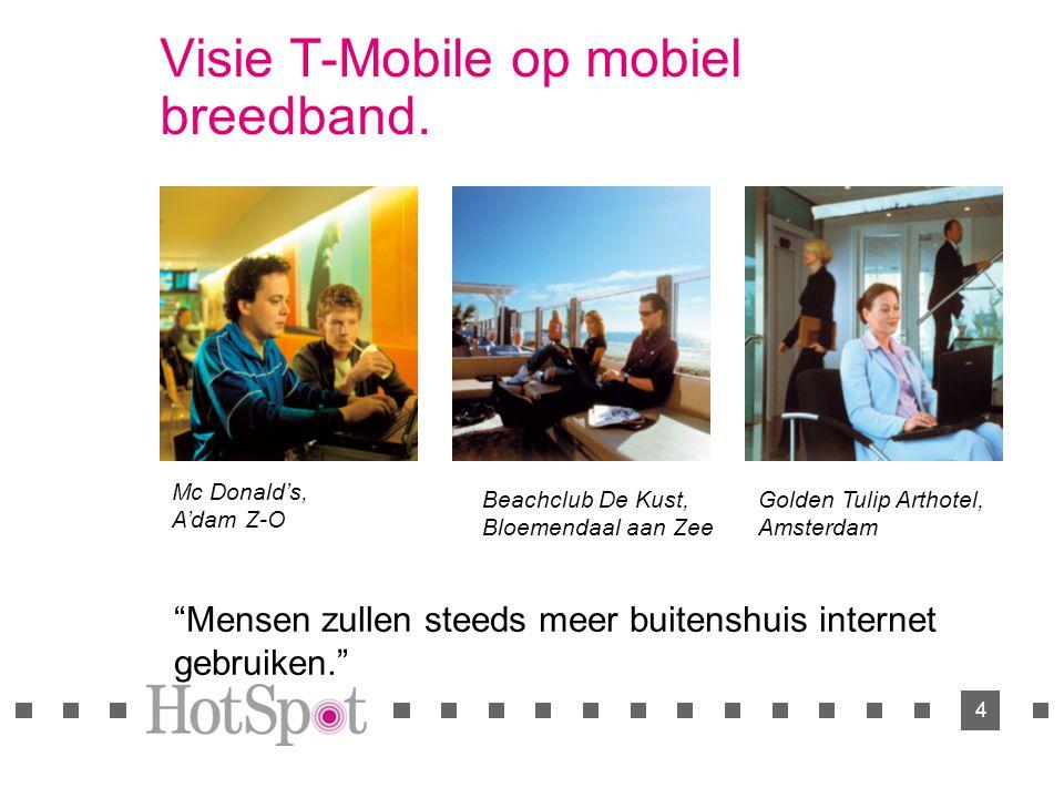 """4 Visie T-Mobile op mobiel breedband. """"Mensen zullen steeds meer buitenshuis internet gebruiken."""" Mc Donald's, A'dam Z-O Beachclub De Kust, Bloemendaa"""